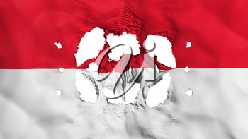 Holes in Monaco flag, white background, 3d rendering
