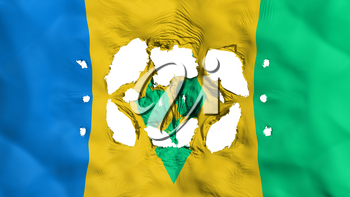 Holes in Saint Vincent and Grenadines flag, white background, 3d rendering