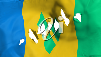 Saint Vincent and Grenadines flag perforated, bullet holes, white background, 3d rendering