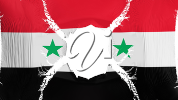 Syria flag with a hole, white background, 3d rendering