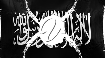 Black Jihad flag with a hole, white background, 3d rendering