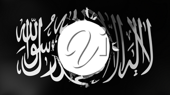 Hole cut in the flag of Black Jihad, white background, 3d rendering