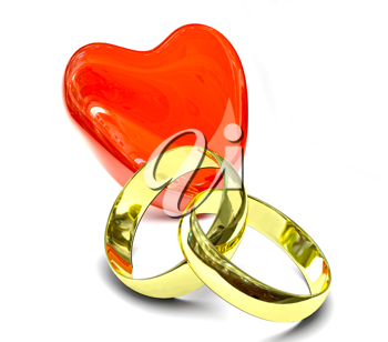 Royalty Free Clipart Image of Two Gold Rings