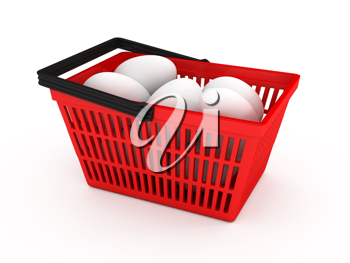 Royalty Free Clipart Image of a Shopping Basket of Eggs