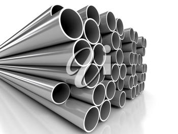 Royalty Free Clipart Image of Metal Tubes