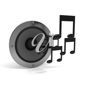 Royalty Free Clipart Image of a Speaker and Music Notes