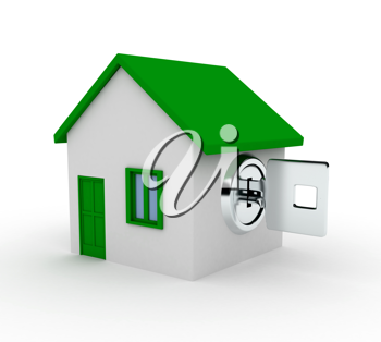 Royalty Free Clipart Image of a Metal Key in a House