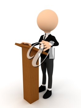 Royalty Free Clipart Image of a Person Speaking at a Podium