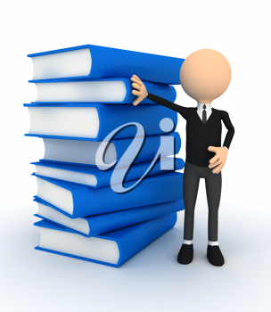 Royalty Free Clipart Image of a Person Beside a Stack of Books