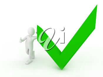 Royalty Free Clipart Image of a Person Beside a Checkmark