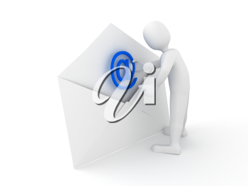 Royalty Free Clipart Image of a Person With an Envelope