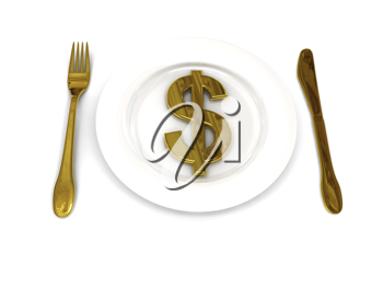 Royalty Free Clipart Image of a Plate With a Dollar Sign