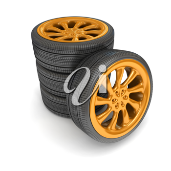 Royalty Free Clipart Image of a Stack of Tires