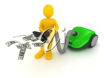 Royalty Free Clipart Image of a Person Vacuuming Money
