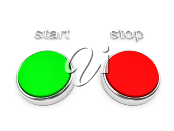 Royalty Free Clipart Image of Start and Stop Buttons