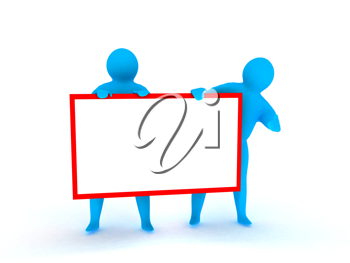 Royalty Free Clipart Image of People Holding a Banner