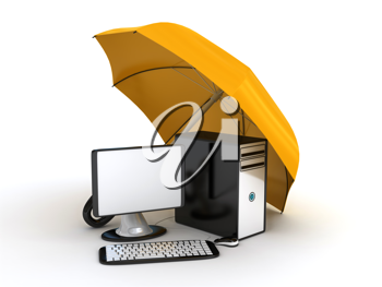 Royalty Free Clipart Image of a Computer Under an Umbrella