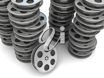 Royalty Free Clipart Image of a Stack of Film Reels