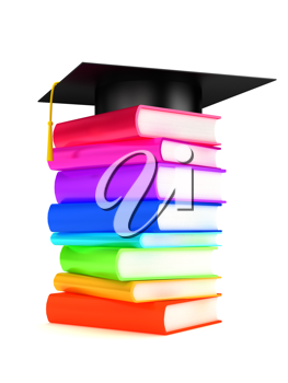 Royalty Free Clipart Image of a Graduation Cap on Books