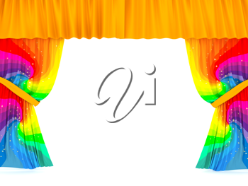 Royalty Free Clipart Image of Colourful Curtains