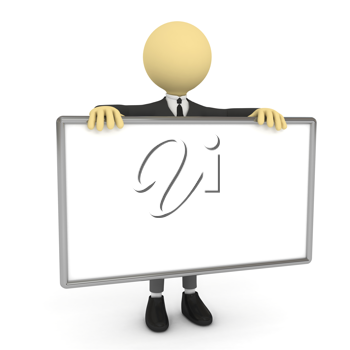 Royalty Free Clipart Image of a Businessman With a Poster
