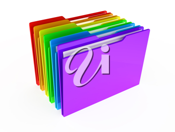 Royalty Free Clipart Image of Colourful Folders