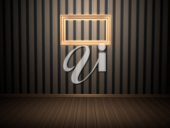Royalty Free Clipart Image of a Room With a Picture Frame