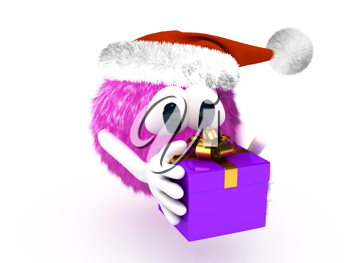 Royalty Free Clipart Image of a Character Holding a Present