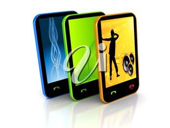 Royalty Free Clipart Image of Three Cellphones
