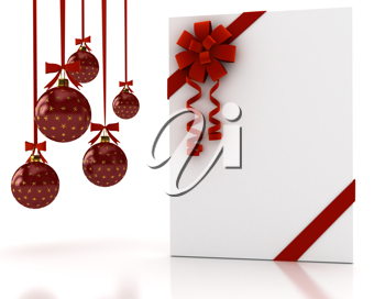 Royalty Free Clipart Image of a Greeting Card and Christmas Ornaments