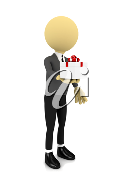Royalty Free Clipart Image of a Person Holding a Present