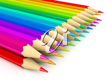 Royalty Free Clipart Image of Colourful Pencil Crayons