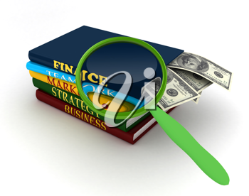 Royalty Free Clipart Image of a Stack of Books and Magnifier Glass