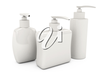 Royalty Free Clipart Image of Bottles of Soap