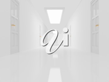 Royalty Free Clipart Image of a White Hallway