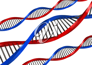 DNA Strands over white background. computer generated image