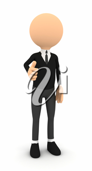 3d render businessman showing thumbs on white background. computer generated