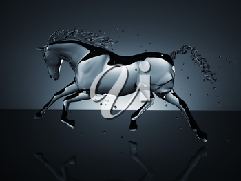water running horse over black. computer generated