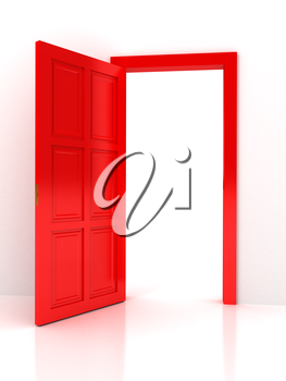 Red door over white background. computer generated image