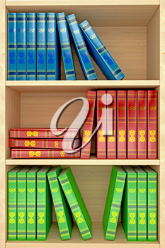 3d wooden shelves background with books. computer generated