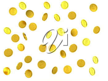 3d rendered failing golden coins, isolated on white