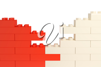 wall from color plastic blocks. 3d rendered image