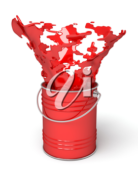 Red paint splashing out of can, on white background