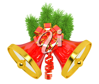 christmas bells with christmas tree decorations
