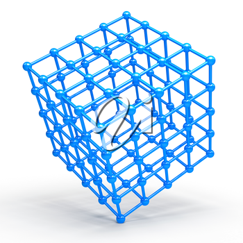 3D Cube and corner spheres. computer generated
