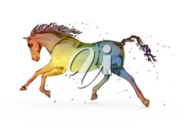 Rainbow water running horse over white. computer generated