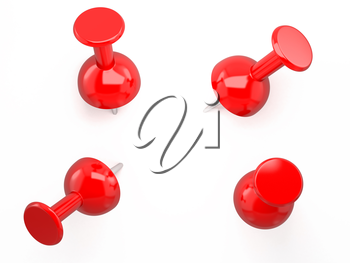 Red pushpin. 3d image. Isolated white background.