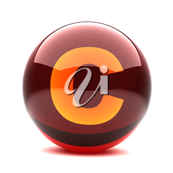 Royalty Free Clipart Image of a Sphere Letter 'C'
