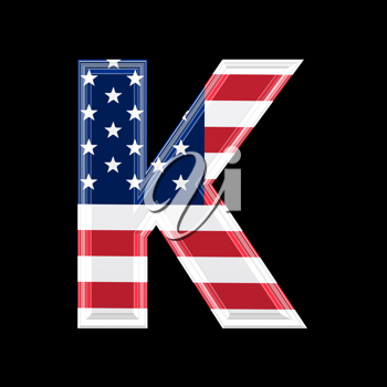 Royalty Free Clipart Image of an American Flag 'K'