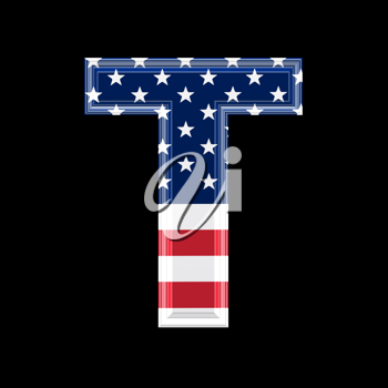 Royalty Free Clipart Image of an American Flag 'T'
